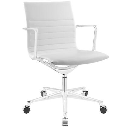 Vi Collection EEI-1526-WHI Office Chair with 360-Degree Swivel  Mid-High Backrest  Five Dual-Wheel Steel Casters  Polished Chrome Aluminum Base and Vinyl
