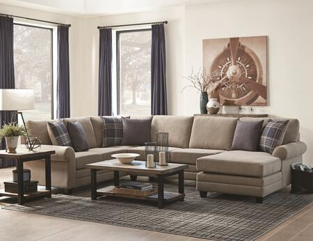 Summerland Collection 501139SET 4 PC Sectional Set with Sectional Sofa + Sofa Table + Cocktail Table + End Table in Wheat and Rustic Brown