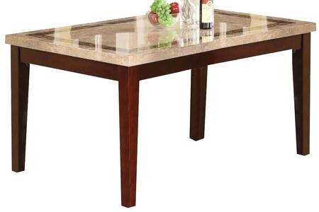 Earline Collection 70772 64 inch  Dining Table with White Marble Top  Brown Marble Trim Insert  Tapered Legs and Wood Construction in Walnut
