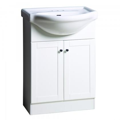 YVEC-472WH 24 inch  Single Vanity with Ceramic Top  Centerset Faucet Hole  ceramic Basin and 2 Door-Cabinet in white Cabinet