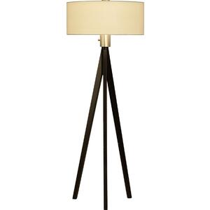 10858 Tripod Floor Lamp in Pecan  Brushed Nickel