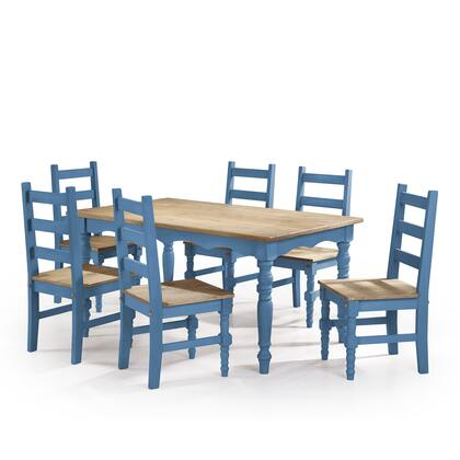 CSJ301 Jay 7-Piece Solid Wood Dining Set with 6 Chairs and 1 Table in Blue