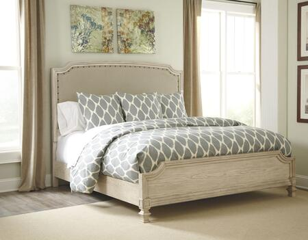 Demarlos B693-76/78/97 King Size Upholstered Panel Bed with Arched Top  Nail Head Trim Headboard in Parchment