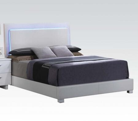 Lorimar Collection 22640Q Queen Size Bed with Chrome Legs  LED Headboard Lights  Low Profile Footboard  Rubberwood Materials and Bycast PU Leather Upholstery