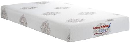 "Vega Collection GN2110-T 8"""" Twin Size Memory Foam Mattress with Visco Memory Foam  Removable and Washable Cover in White"" 754001"