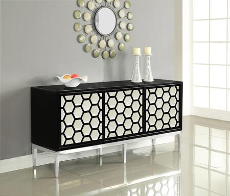 "Zoey Collection 304 69"" Sideboard with Honeycomb Design  Stainless Steel Base and Sliding Doors with Mirrored Front in Black"