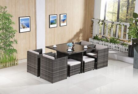 FQ-902-G-LG 9-Piece Patio Dining Set with Dining Table  4 Chairs and 4 Ottomans in Grey Frame and Light Grey