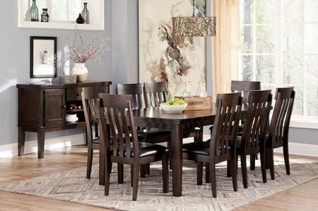 Haddigan 10-Piece Dining Room Set with Extendable Table  8 Side Chairs and Server Cabinet in Dark Brown