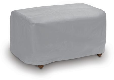 1116 32 inch  Large Ottoman Outdoor Cover with UV Treated  Secured with Velcro Ties  Water Resistant and Heavy Duty Vinyl Fabric in Grey