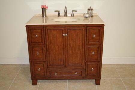 Emma B3583 48 inch  Single Vanity With Marble Countertop  1 Porcelain Sink  7 Functional Felt-Lined Drawers  1 inch  Backsplash  2 Doors and 1 Shelf in Medium Brown
