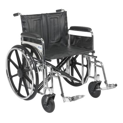 std24dfa-sf Sentra Extra Heavy Duty Wheelchair  Detachable Full Arms  Swing Away Footrests  24