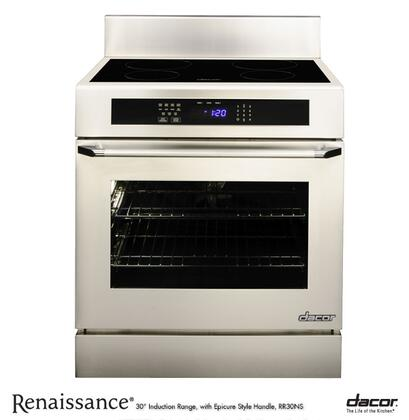 "RR30NS Renaissance 30"" Freestanding Induction Range with 4.8 ft. Capacity Black Ceramic Glass Epicure Style Handle 6"" Backguard with Full-Depth Side Panels"
