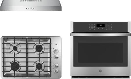 """GE 3 Piece Kitchen Appliances Package with JTS3000SNSS 30"""" Electric Single Wall Oven  JGP3030SLSS 30"""" Gas Cooktop and JVX5300SJSS 30"""" Under Cabinet"""