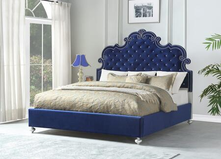Amira Collection AMIRA KING BED BLUE King Size Upholstered Bed with Nailhead Trims  Button Tufting  Decorative Headboard Crown and Wood Frame Construction in