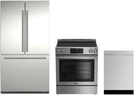 3-Piece Kitchen Package with BRFD2230SS 36 inch  French Door Refrigerator  BERU30420SS 30 inch   Freestanding Electric Range  and DW55502SS 24 inch  Built In Fully Integrated
