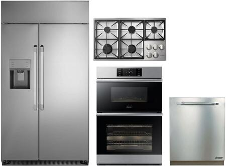 4-Piece Stainless Steel Kitchen Package with DYF42SBIWS 42 inch  Side by Side Refrigerator  DTCT466GSLPH 46 inch  Liquid Propane Cooktop  DOB30M977DS 30 inch  Double Wall