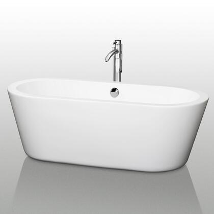 WCOBT100367 67 in. Center Drain Soaking Tub in White with Chrome