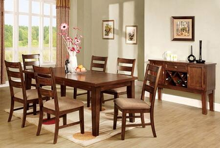 Priscilla I Collection CM3111T6SCSV 8-Piece Dining Room Set with Rectangular Table  6 Side Chairs and Server in Antique Oak