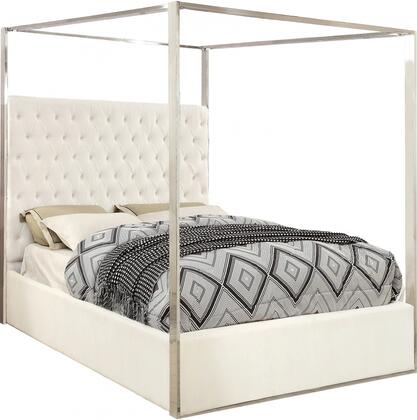 Porter Collection Porterwhite-q 87 Queen Bed With Velvet Upholstery  Deep Detailed Tufting  Chrome Canopy And Full Slats In