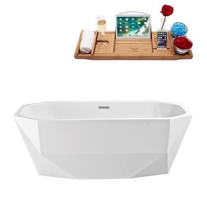 N62063FSWHFM 63 inch  Soaking Freestanding Tub with Internal Drain  Chrome Color Drain Assembly  150 Gallons Water Capacity  and Acrylic/Fiberglass Construction  in