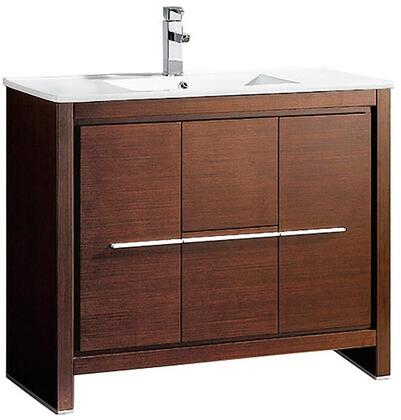 Allier FCB8140WG-I 40 inch  Single Sink Vanity with 2 Soft Closing Doors  2 Soft Closing Drawers and Integrated Sink in Wenge