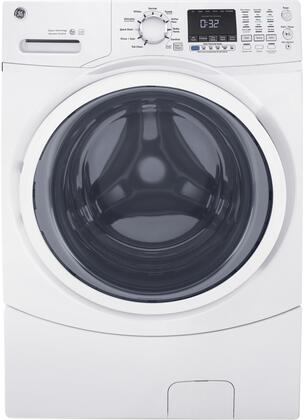 "GFW450SSMWW 27"" Front Load Washer with 4.5 cu. ft. Capacity  Delay Wash  Fabric Softener  LED Electronic Control  Leveling Leg  and Quick Wash  in"