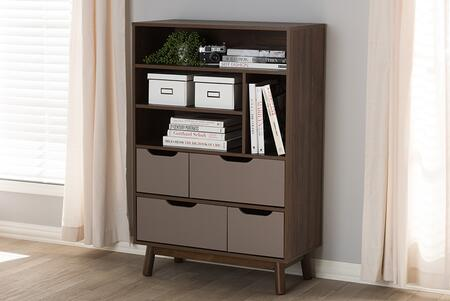 BC 1080-01-BROWN/GREY Baxton Studio Britta Mid-Century Modern Walnut Brown and Grey Two-Tone Finished Wood