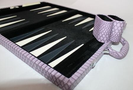 CRO201PR 18 inch  Backgammon Set with Plush Black Velvet Inlay  Instructions  Dice  Playing Cups  and Chips: Faux Crocodile