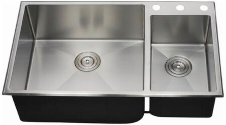 LIX-500 Biagio 33 1/2 inch  Double Bowl Undermount/Drop-in Kitchen Sink with Soundproofing System and Mounting Hardware in Stainless
