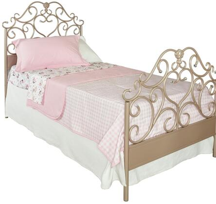 Elizabeth Collection D1060y17 Twin Size Panel Bed With Acrylic Crystal Details  Metal Frame  Decorative Headboard And Footboard In Rose