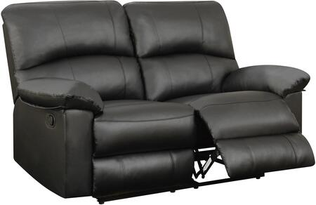 U99270BLACKRLS 64 inch  Reclining Loveseat with Plush Padded Arms and Split Back Cushion in Black