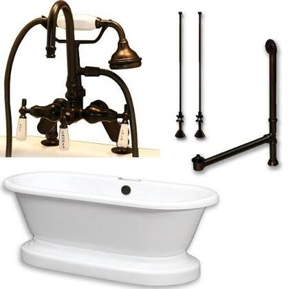 ADEP-684D-PKG-ORB-7DH Acrylic Double Ended Pedestal Bathtub 70 inch  x 30 inch  with 7 inch  Deck Mount Faucet Drillings and Oil Rubbed Bronze Chrome Plumbing