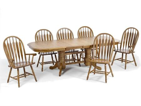 Classic Oak CO-TA-L4296247-CNT-C Dining Room  Laminate Trestle Table and 6 Chairs with Apron  in Chestnut