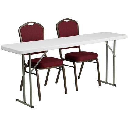 RB-1872-1-GG 18'' x 72'' Plastic Folding Training Table with 2 Crown Back Stack