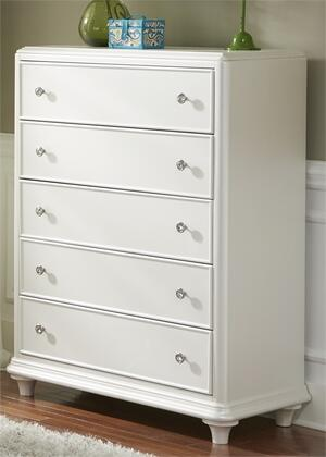 Stardust Collection 710-BR40 41 inch  Chest with 5 Drawers  Crystal Knob Hardware and Bun Feet in Iridescent White