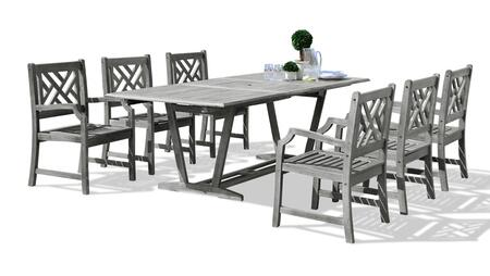 V1294SET15 Renaissance Outdoor 7-Piece Hand-Scraped Wood Patio Dining Set With Extension