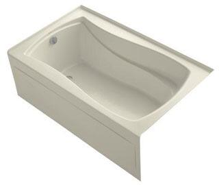 K-1242-LAW-47 60x36x20 Alcove Apron-Front Acrylic Soaking Bath Tub With Bask Heated Surface  Tile Flange And Left