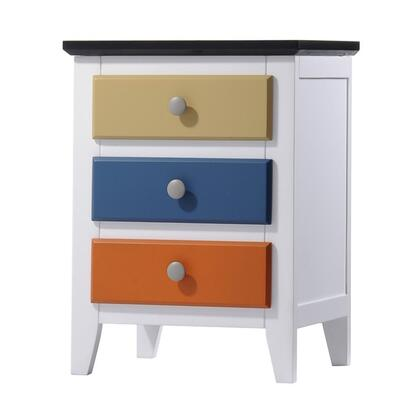 Brooklet Collection 25457 20 inch  Nightstand with 3 Drawers  Round Knobs  Poplar Wood and Medium-Density Fiberboard
