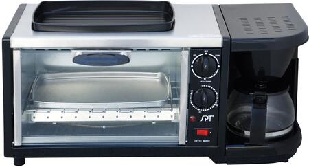 BM1118 3-in-1 Breakfast Maker with 9-Liters Capacity Toaster Oven  4-Cups Coffee Maker  Oven Top Griddle  Heat Resistant Glass Door  Reusable Coffee Filter