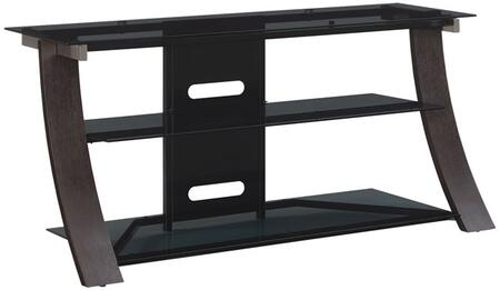 Chelsea BFA50-94898-DE1 50 inch  with Curved Wood Frame  Dark Gray Tinted Tempered Safety Glass Shelves  and CMS Cable Management System in Dark Espresso