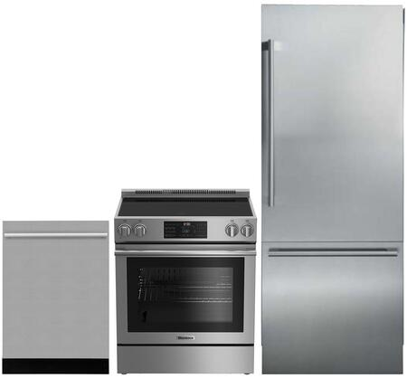 3-Piece Kitchen Package with BRFB1920SS 30 inch  Bottom Freezer Refrigerator  BERU30420SS 30 inch  Freestanding Electric Range  and a free DWT55100SS 24 inch  Built In Fully