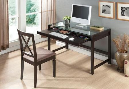 RT207-TBL Idabel Wood Modern Desk with Glass Top: Dark