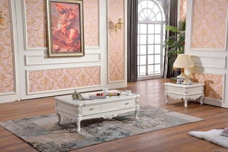 Zarah 298CE 2 PC Living Room Table Set with Coffee Table + End Table in White