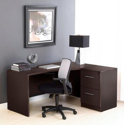 1C100005RES Espresso Corner L Shaped Desk - Right Side with Filing