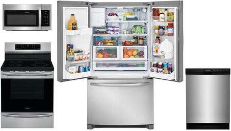 4-Piece Kitchen Stainless Steel Package With FFHB2750TS 30 inch  French Door Refrigerator  FFIF3054TS 30 inch  Electric Freestanding Range  FFMV1645TS 30 inch  Over-the-Range