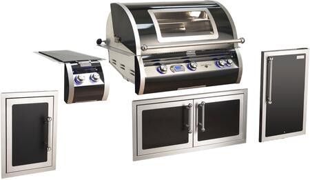 Grill Package with H790i-4E1N-W Built In Natural Gas Grill  32814H Double Side Burner  53938H Front Access Double Door   3598H-DR Refrigerator  53920HSCL End
