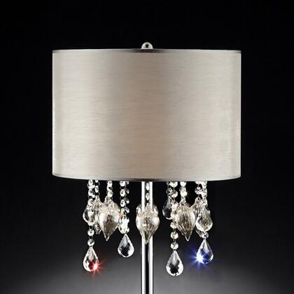 Calypso L95125T Table Lamp with Metal base  Crystal and glass peach design  Shade size: 15
