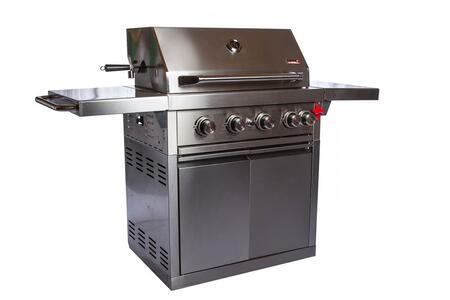 Z-460 Zurich Liquid Propane Grill with 4 Burners  Rotisserie  Push Button Igniter  Stainless Steel Hood  and 56 000 BTUs of Cooking Power  Two Door Cart  in