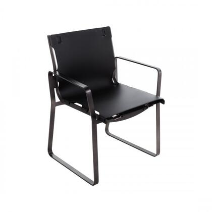 Ryg FV391BLK Dining Arm Chair with Track Arms  Stainless Steel Frame and Leather Upholstery in Black and Bruch Gun