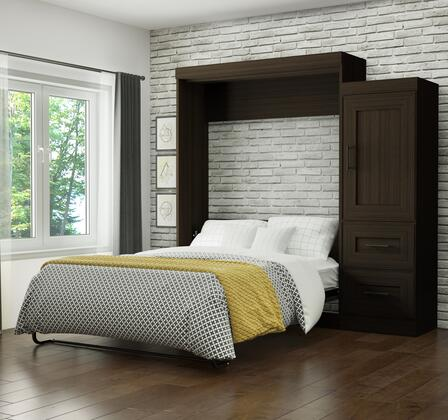 Edge Collection 70884-79 Queen Size Wall Bed with 2-Drawer Storage Unit  1 Door  Shelves  Euroslat Mattress Support System  Dual Piston System  Metal Pull